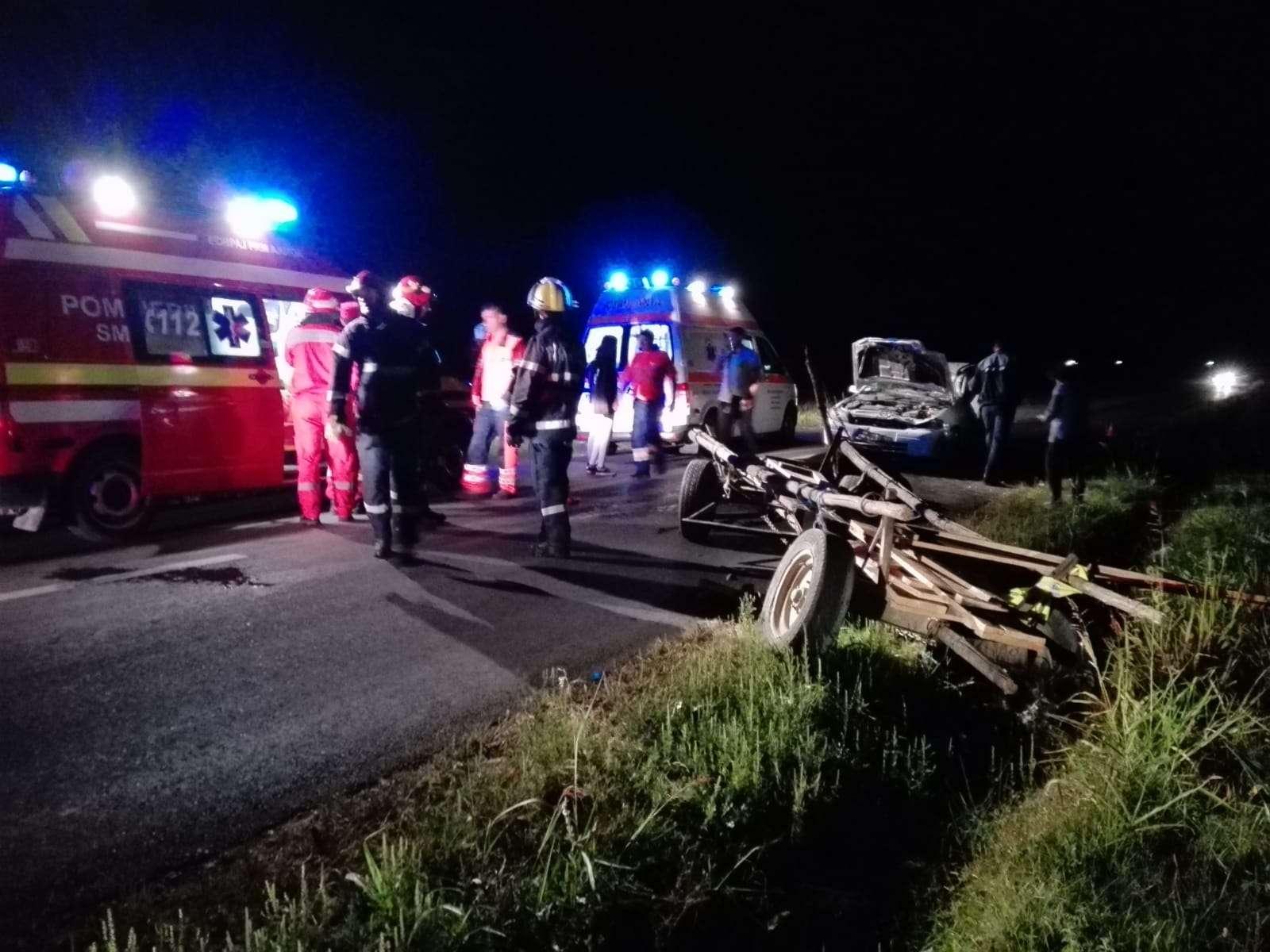Accident grav la Dărmanești! Un tânăr a făcut praf o căruță in care se aflau două persoane!